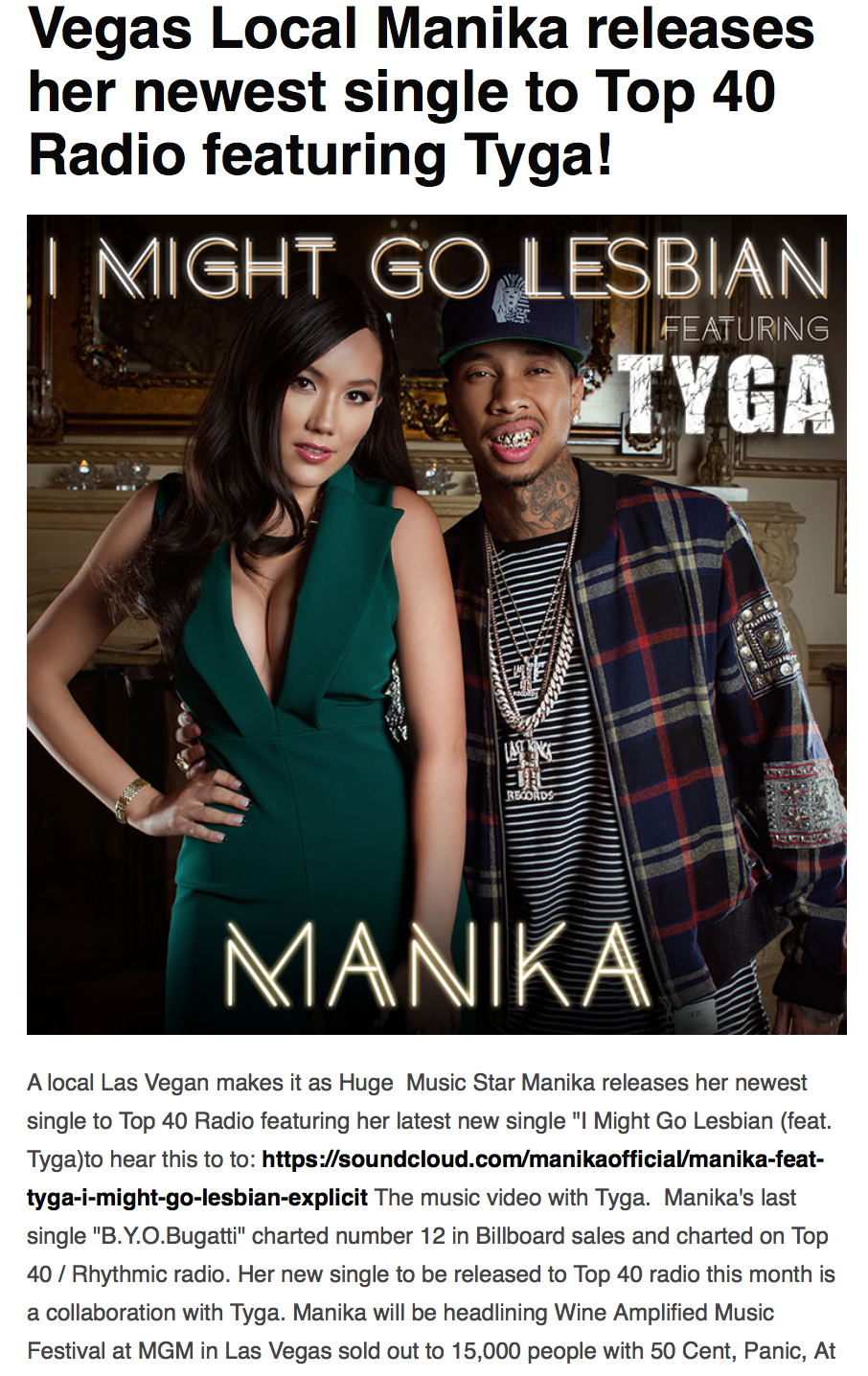 Vegas Scene Magazine Features Manika and Tyga