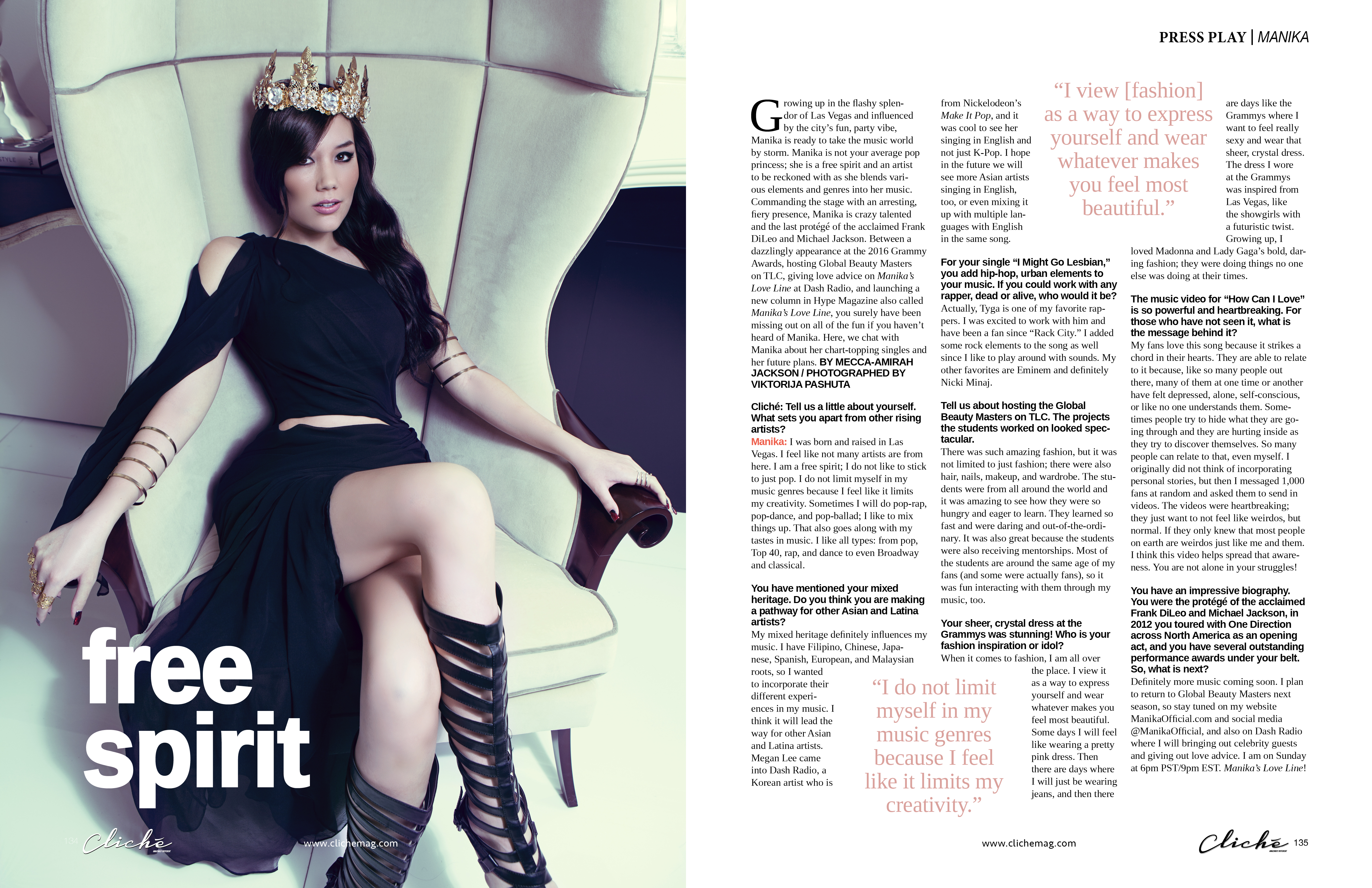 Manika free spirit cliche magazine press play fashion global beauty masters